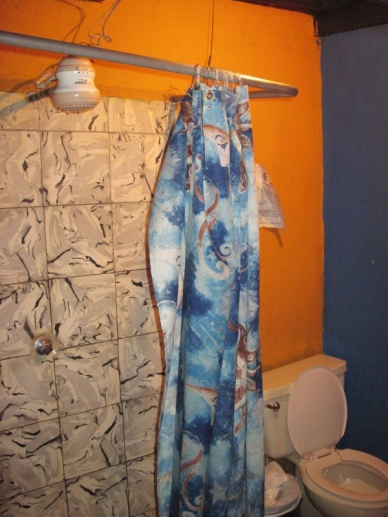 Typische Dusche in Guate