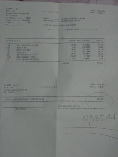 Baumarkt-Rechnung