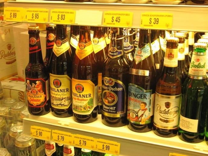 Auswahl an deutschen Bieren im Uru-Supermarkt