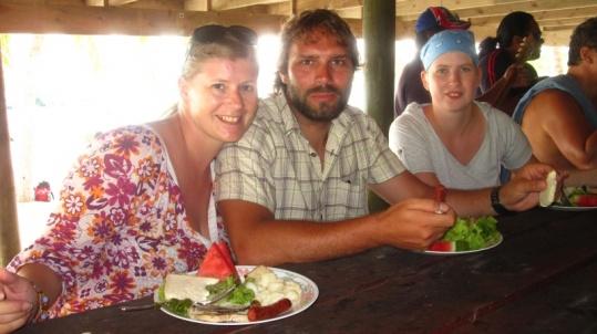 Mittagsschmaus auf One Foot Island
