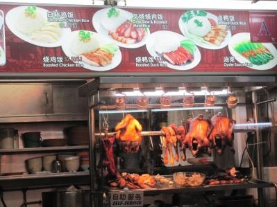 Federlose Pekingente in Singapore