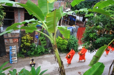 Morgentlicher Almosengang der Mönche in Luang Prabang