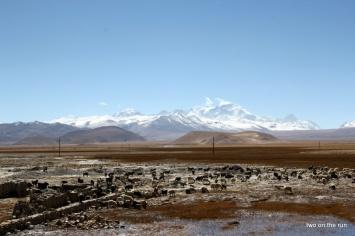 Blick auf den Himalaja von Old Tingri aus