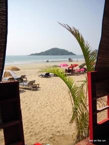 Am Strand vom Palolem - Blick aus unserer Huette