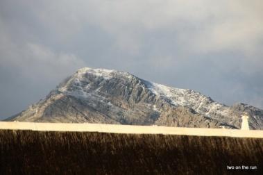 Schnee auf den Bergen bei Franschhoek