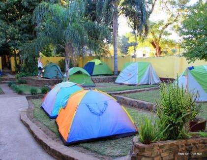 Zelten im Hostel - Livingstone
