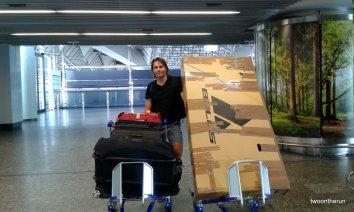 Rückreise mit Sack und Pack und Angies Fahrrad